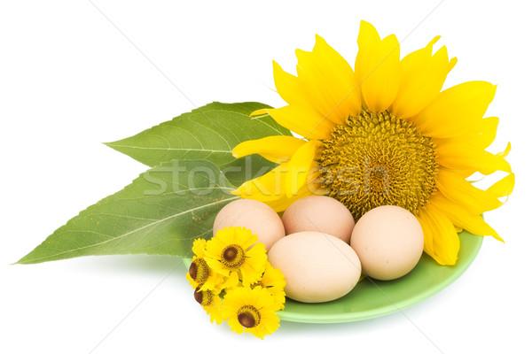 Huevos de Pascua flores amarillas Pascua simple rural huevos Foto stock © vavlt