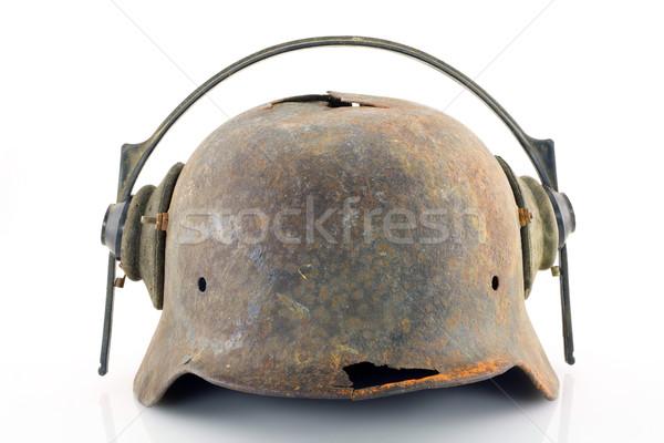 Rusty protective helmet with headphones  Stock photo © vavlt