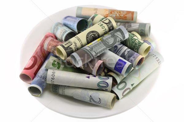 Para beyaz plato kâğıt yalıtılmış Stok fotoğraf © vavlt