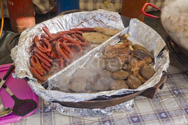 Barbecue gegrild vlees uitverkocht straat selectieve aandacht Stockfoto © vavlt