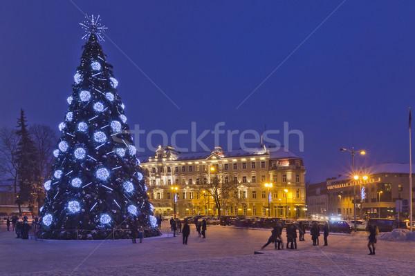 Karácsony éjszaka öreg európai város tájkép Stock fotó © vavlt