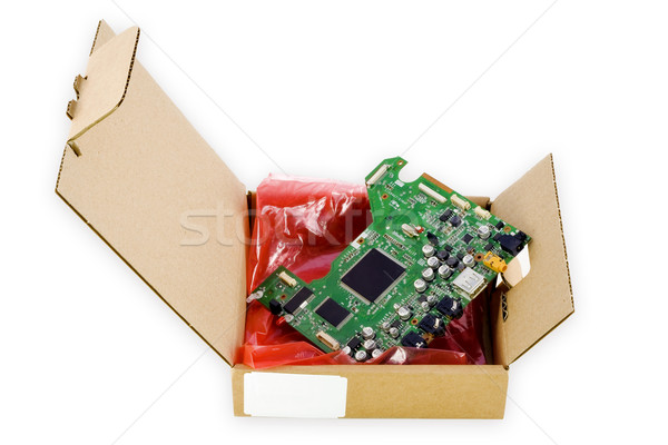 Cardboard packing for electronic spare parts Stock photo © vavlt