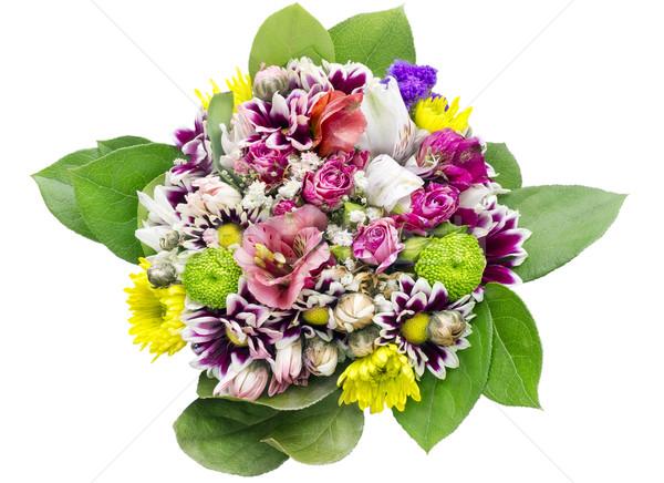 Bloemen boeket meisje verjaardag jong meisje macro Stockfoto © vavlt
