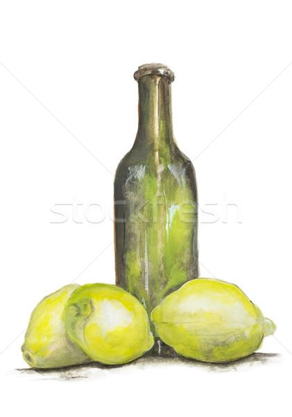 Stock fotó: Citromsárga · citrom · üveg · limonádé · izolált · zöld