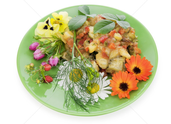 Sült zöldségek virágok vidéki körítés bogyók Stock fotó © vavlt