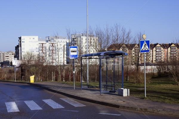 Pusty brudne przystanek autobusowy mały europejski miasta Zdjęcia stock © vavlt