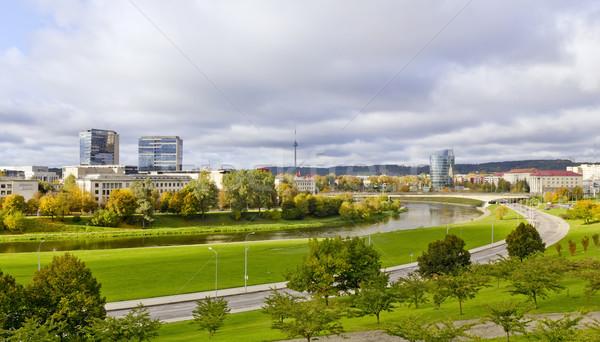 Városi ősz tájkép Vilnius Litvánia arany Stock fotó © vavlt