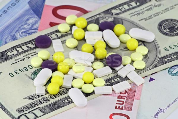 Stockfoto: Pillen · geld · vorm · kleur · papier