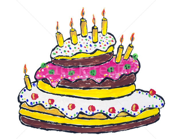 Nagy születésnapi torta égő gyertyák absztrakt izolált Stock fotó © vavlt