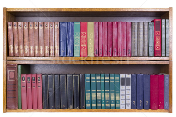 Oude boeken kleur plank retro houten Stockfoto © vavlt