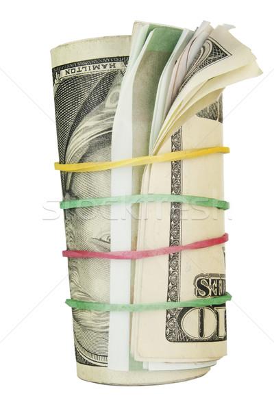 Rolar dinheiro juntos flexível macro isolado Foto stock © vavlt