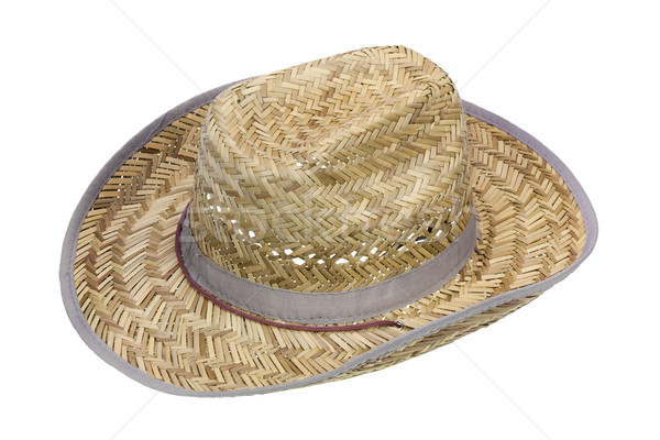 Rustic cowboy hat made of straw Stock photo © vavlt