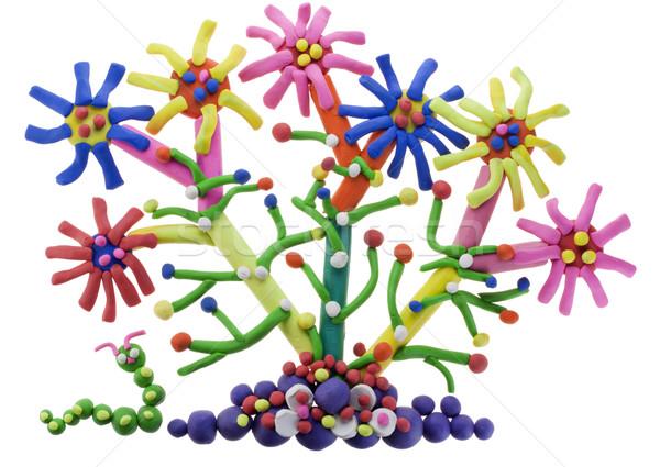 Stock fotó: Fantasztikus · virág · hernyó · kollázs · absztrakt · virágágy
