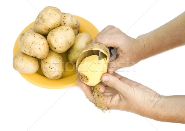 The farmer peels  raw potatoes Stock photo © vavlt