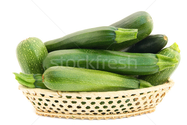 Fresh small green vegetable marrows in a basket Stock photo © vavlt