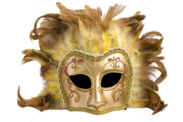 Mask from a golden  paper and feathers  Stock photo © vavlt