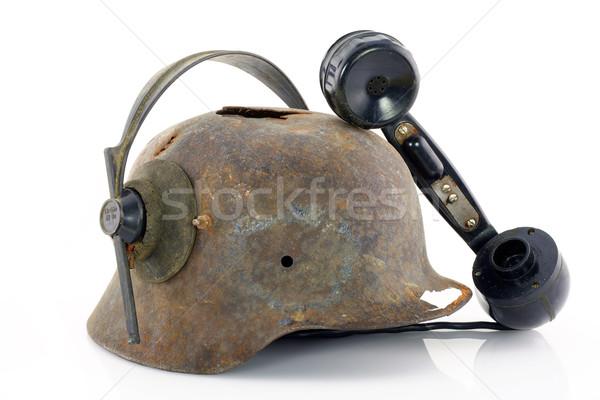 Casco edad Rusty auriculares soldado Foto stock © vavlt