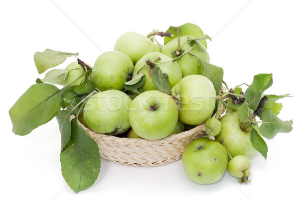 Groene appels mand hoop zuur bladeren Stockfoto © vavlt