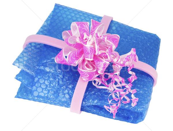 Kék csomagol műanyag levegő ajándék film Stock fotó © vavlt