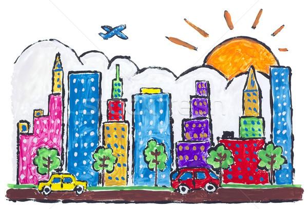 Nagy város város festett izolált városi Stock fotó © vavlt