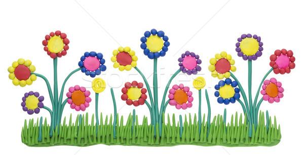 Fragment gras bloemen klei kinderen Stockfoto © vavlt