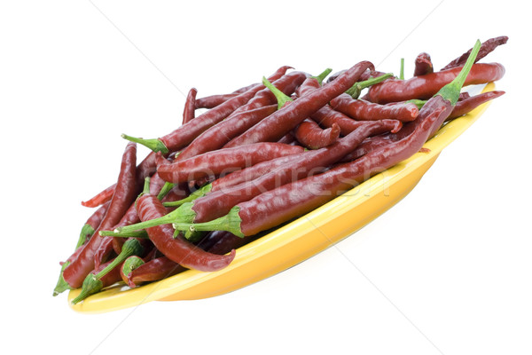 Red hot chilli peppers on plate Stock photo © vavlt