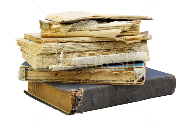 öreg rongyos könyvek koszos izolált fehér Stock fotó © vavlt