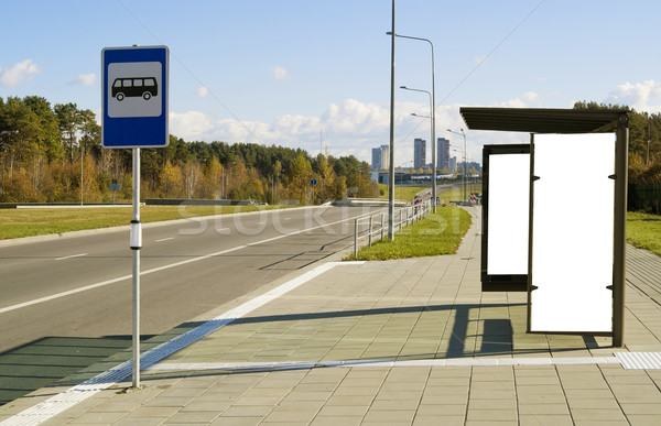 Bus stop on a high-speed  highway  near to a megacity Stock photo © vavlt