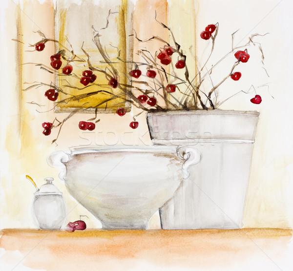 Kırmızı kış karpuzu beyaz kil Stok fotoğraf © vavlt