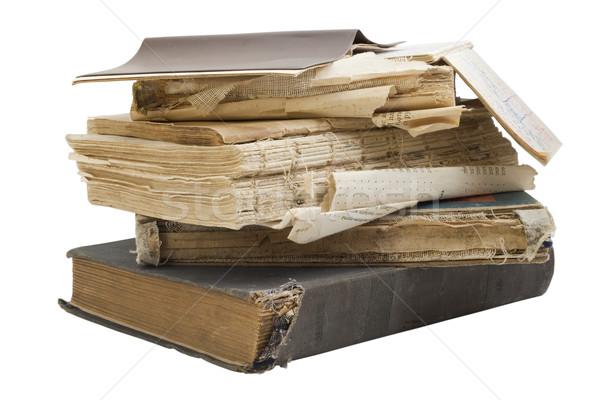 Oude haveloos retro boeken vuile geïsoleerd Stockfoto © vavlt