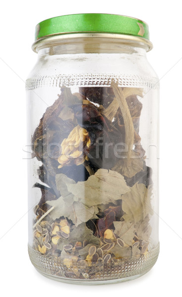 Small  dusty  jar with spices Stock photo © vavlt
