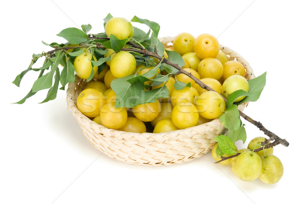 Real yellow plums in basket Stock photo © vavlt