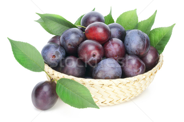 Real isolated ripe red plums Stock photo © vavlt