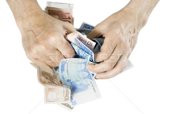 Kapzsiság pénz kapzsi kezek irha izolált Stock fotó © vavlt
