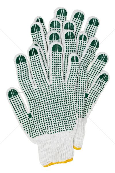 Bianco lavoro guanti verde gomma isolato Foto d'archivio © vavlt