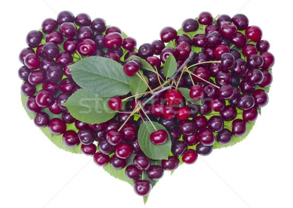 Cerises fruits d'été coeur fruits laisse Photo stock © vavlt