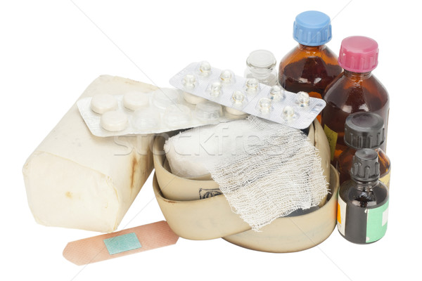 Old dusty expired medicines Stock photo © vavlt