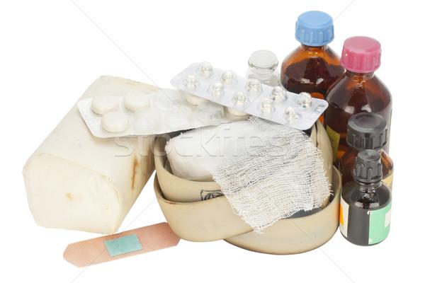 Oude stoffig pillen gips geïsoleerd Stockfoto © vavlt