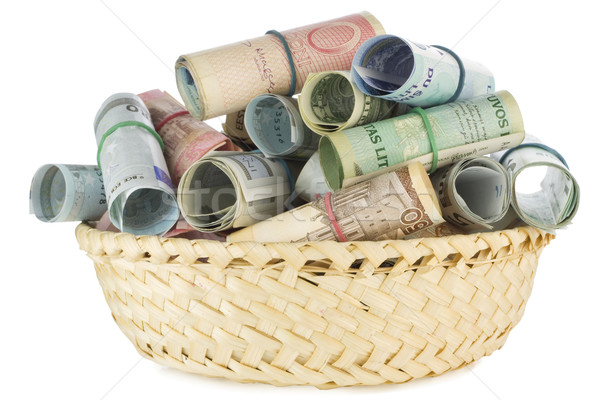 Basket soldi avidità isolato bianco Foto d'archivio © vavlt