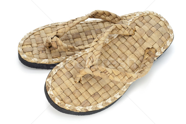 summer footwear is weaved from straw Stock photo © vavlt