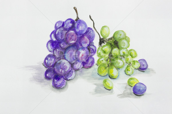 Red and green grapes  fruits Stock photo © vavlt