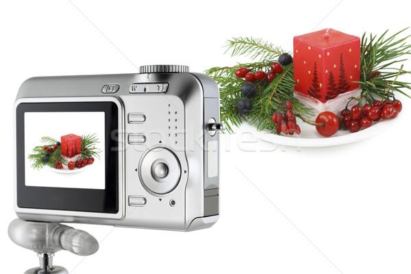 Digitális fényképezőgép karácsony virágcsokor kollázs egyszerű kompakt Stock fotó © vavlt