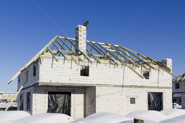 Construction of a private country house Stock photo © vavlt