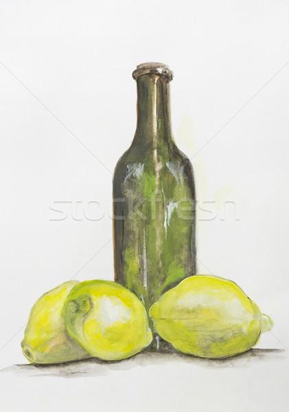 Yellow lemon and  bottle of lemonade  Stock photo © vavlt