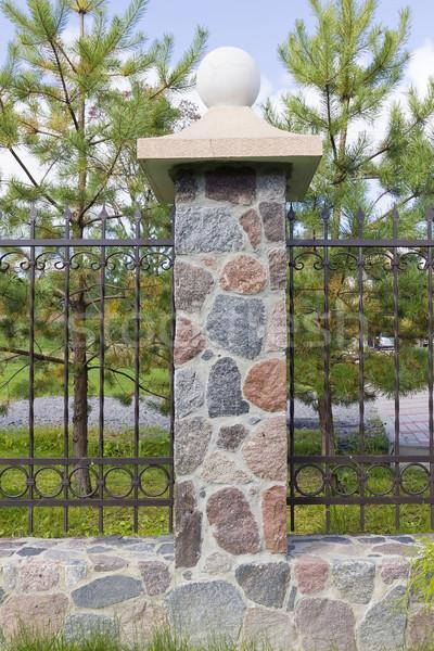 Clôture granit pierres fer derrière Photo stock © vavlt