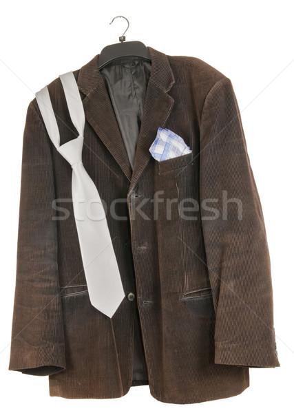 Vieux minable sale veste brun cravate Photo stock © vavlt