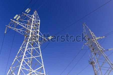 высокое напряжение современных электрических власти синий связи Сток-фото © vavlt