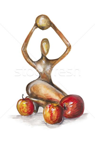 Vrouw afrikaanse stijl Rood appels geïsoleerd Stockfoto © vavlt