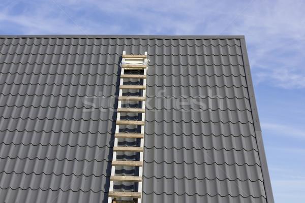 Hemel houten trappenhuis grijs betegelde Stockfoto © vavlt
