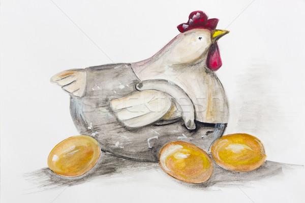 Easter chicken sitting on a golden eggs Stock photo © vavlt